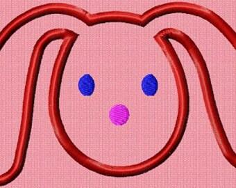 Instant Download Applique Bunny Rabbit - Machine Embroidery Design - Digital Design File