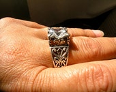 Estate Chunky Art Nouveau Design CZ Ring Large heavy