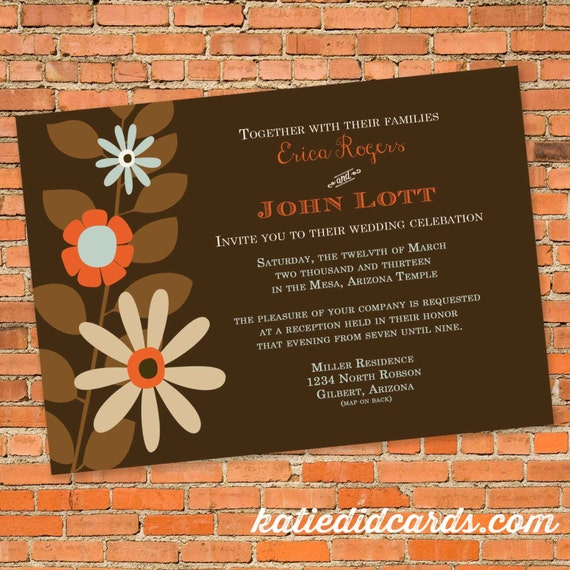 Bridal shower invitations with flowers, ANY COLORS,  digital, printable file (item 308)