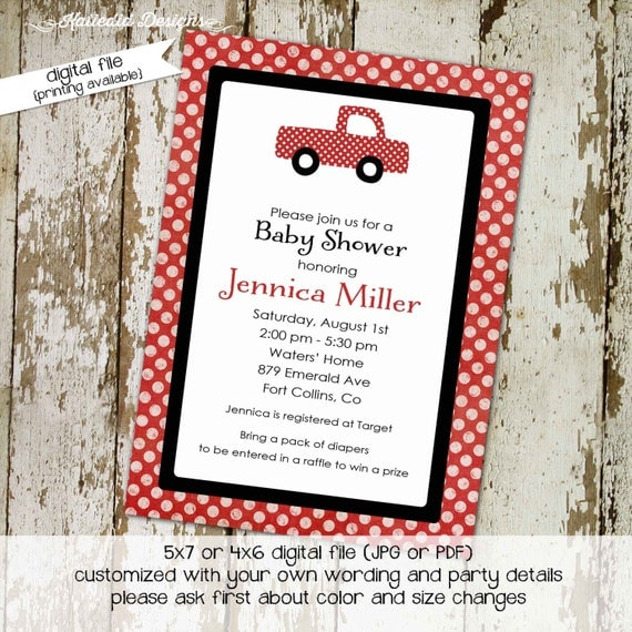 baby boy shower invite little red farm truck and polka dots, DIY PRINTABLE (item 1223) baby shower invite