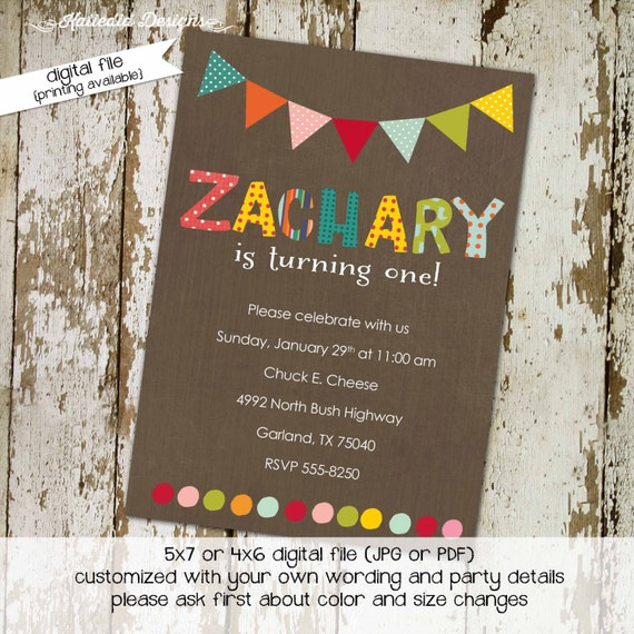 party invitations first birthday invitation child's name polka dots bunting banner party bash baptism twin (item 228) shabby chic invitation
