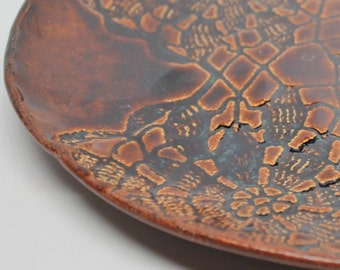 Honey Amber, Crochet Textured Serving Plate, Tray, Trinket Dish, Appetizer Tray