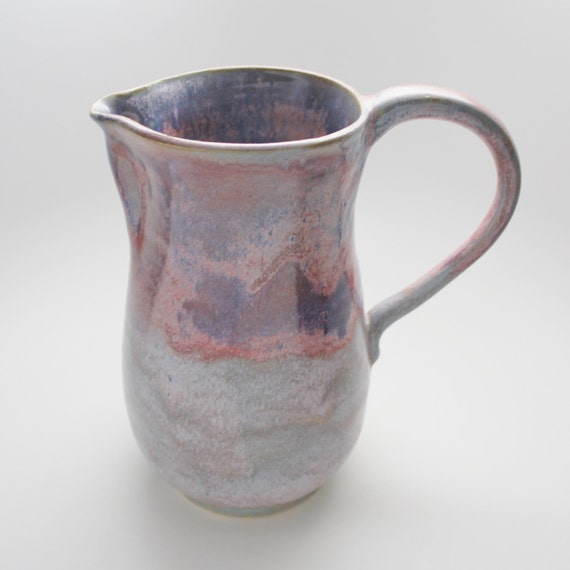 Large Wheel Thrown Stoneware Pitcher in Lavender and Plum