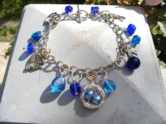 Bird Lover's Charm Bracelet with Handmade Nest Charm in Blue