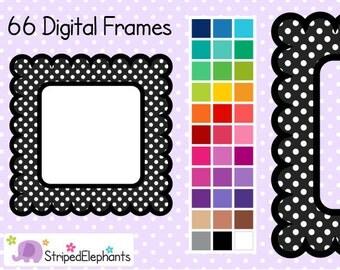 Polka Dot Scalloped Square Frames 1 - Clipart Frames - Instant Download - Commercial Use