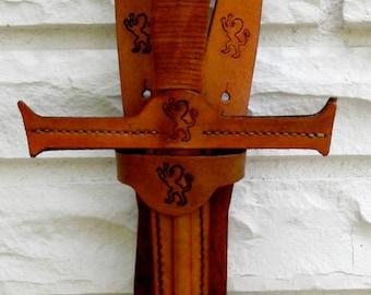 SWORD & sword BELT Set w/ Lion Emblem - Handmade Leather