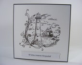 Lighthouse - name day celebration card - as per order
