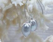 Gray Baroque Pearl Drop Earrings Gemstone Earrings Birthstone Jewelry Christmas Sale