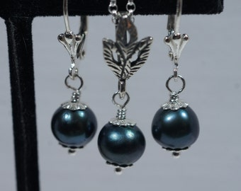 Black Pearl Earrings Sterlings Siver Necklace Set Freshwater Pearl  Birthstone Gemstone Jewelry