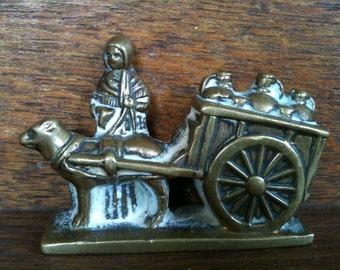 Vintage English Brass Farmer Girl Horse Cart Figurine Ornament circa 1950's / English Shop