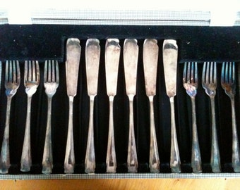 Vintage English Boxed Silver Plate Forks and Fish Knifes circa 1960's / English Shop