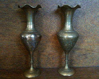 Vintage English Brass Pair of Vases Pot Container circa 1940's / English Shop