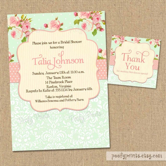 Shabby Chic Bridal Shower Invitations FREE By PoofyPrints