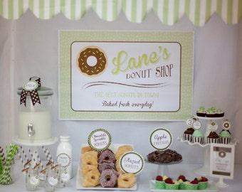 Donut Shop Party Backdrop, Donut Party Sign, Donut Shop Sign, Doughnut, Do-nut, Donut Birthday, 20x30 Poster Print, Lauren Haddox Designs