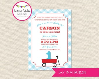 Red Wagon Birthday, Radio Flyer Invitation, Red Wagon Birthday Invitation, Red Wagon Printables, Wagon Decorations, Lauren Haddox Designs