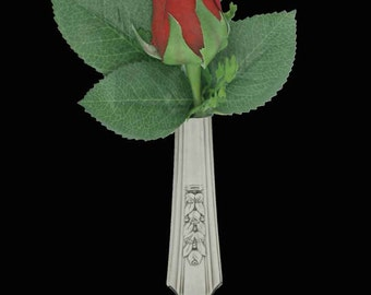 Lapel Vase, Vintage Rosalie 1938  Tussie Mussie Boutonniere Lapel Vase Pin, Silverware jewelry
