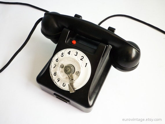 RESERVED for TING - Vintage Antique Bakelite Rotary Phone Dial 50s Black