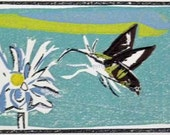 Hummingbird ClearwingMoth at Flower - Linocut and Reduction Woodcut
