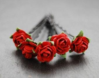 Red Rose Bobby Pins |  Wedding Hair Pins | Bridal Hair Accessory | Flower Girl | Prom | Flower Bobby Pins