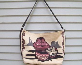 Southwestern Navajo / Aztec Print Tote Bag Made by El Paso Saddleblanket Co