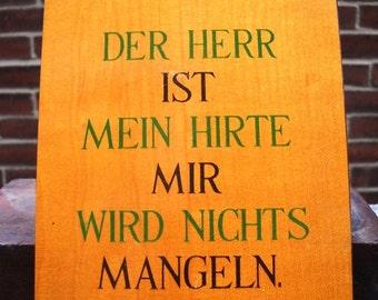 German religious plaque - mid century wood