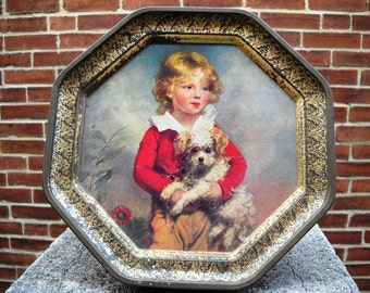 boy with puppy sunshine biscuit tin lid for wall
