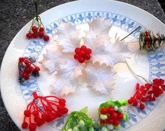 9 plastic holiday floral picks vintage