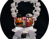 Mr & Mrs Potato Head Wedding cake topper Top Hunny Swweet heart Country