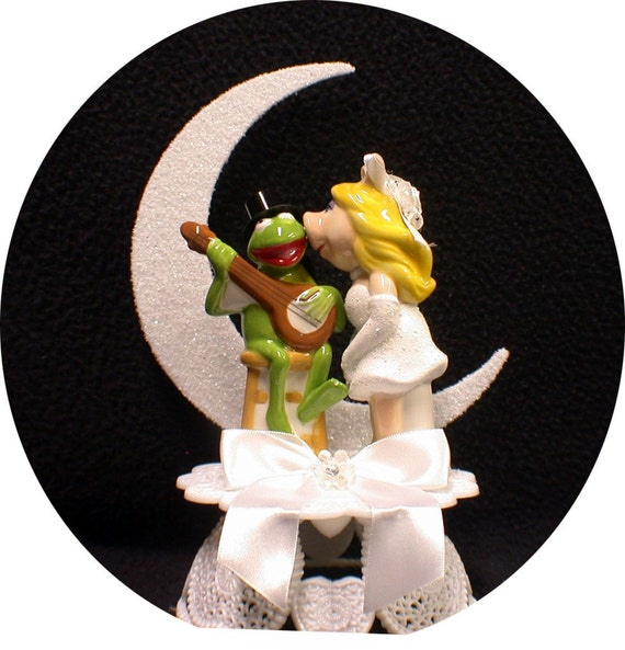 Miss Piggy Kermit Frog Wedding Cake Topper