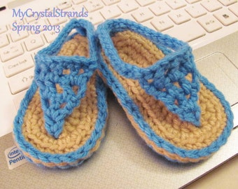 Buggs - Crochet Baby Flip Flop Sandals in Clear Blue or  Pick Your Color