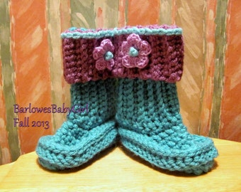 Buggs - Crochet Baby Booties in Teal  w/ Detachable Orchard Plum Band and Accent Flower