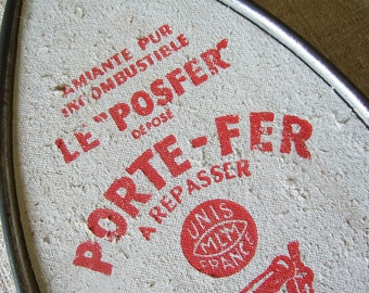 Vintage French Iron rest  Iron stand trivet aluminum aluminium advertising red white laundry room