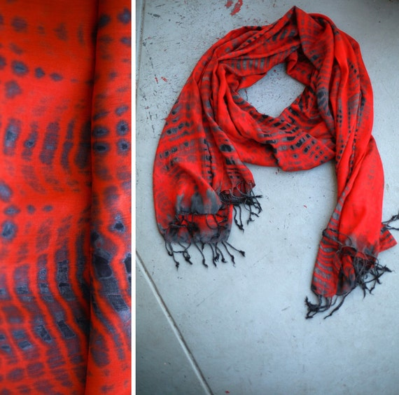 Angie > Tomato Red & Grey Large Scarf