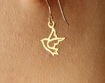 Tiny Dove Bird Earrings in Gold, dove bird charm dangle drop earrings dainty small gift everyday simple lightweight