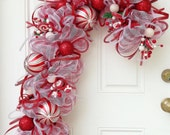 Candy Cane Deco Mesh Wreath