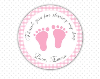 Pink Gingham Thank You Tags - Baby Feet Custom Baby Shower Thank You Tags Party Items Printable Personalized Birthday Tags Party Favors