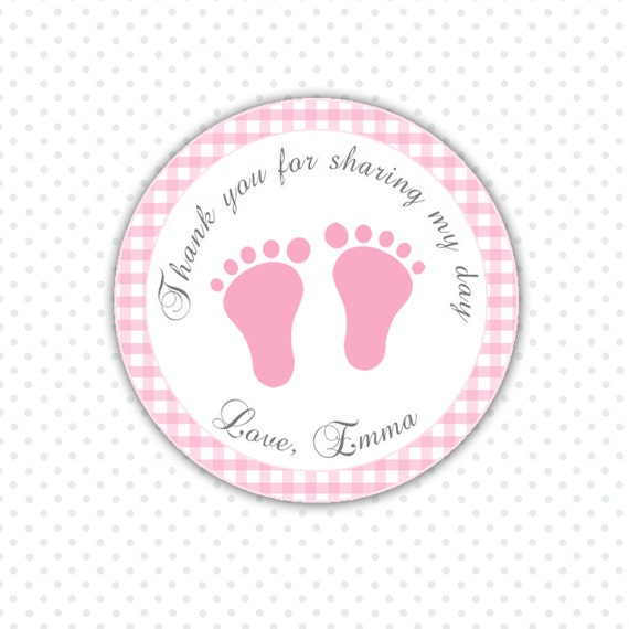 baby shower thank you tags pink gingham thank you tags baby feet