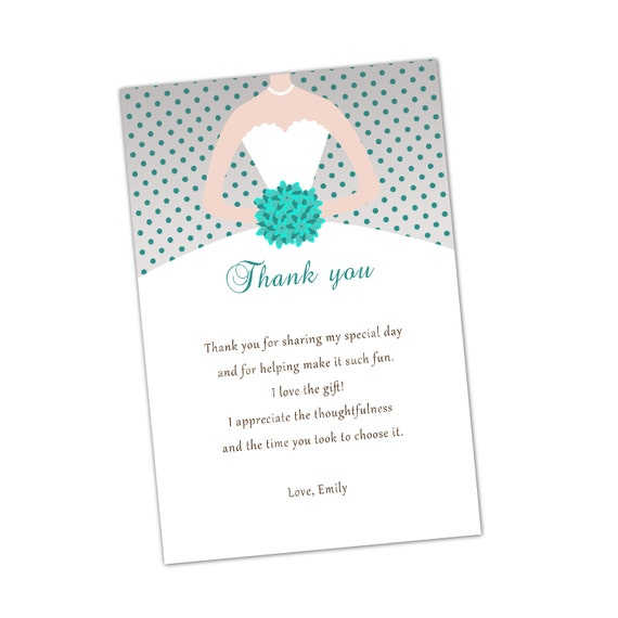 Grey Turquoise Bridal Shower Thank You Cards Bouquet Bride