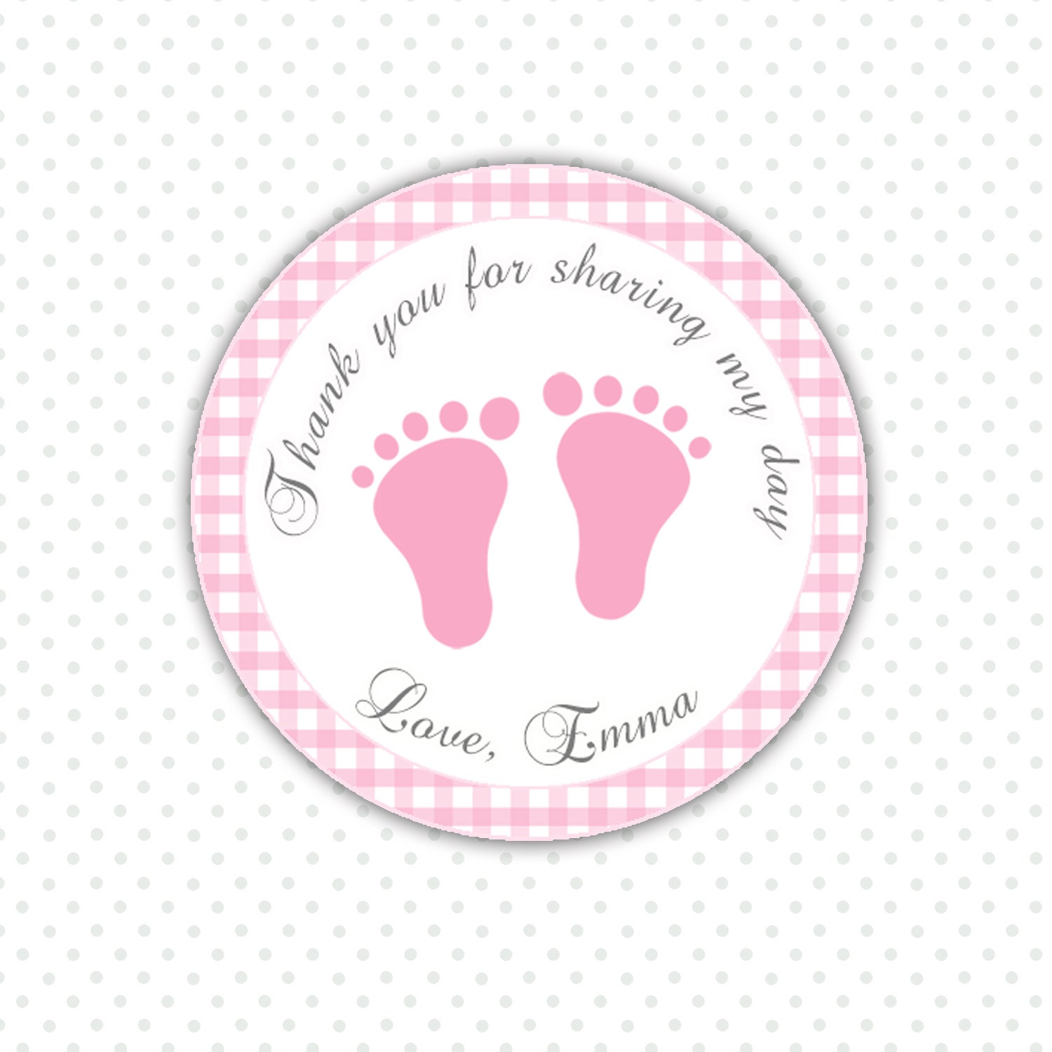 Thank You Quotes For Baby Gift: Pink Gingham Thank You Tags Baby Feet Custom Baby Shower