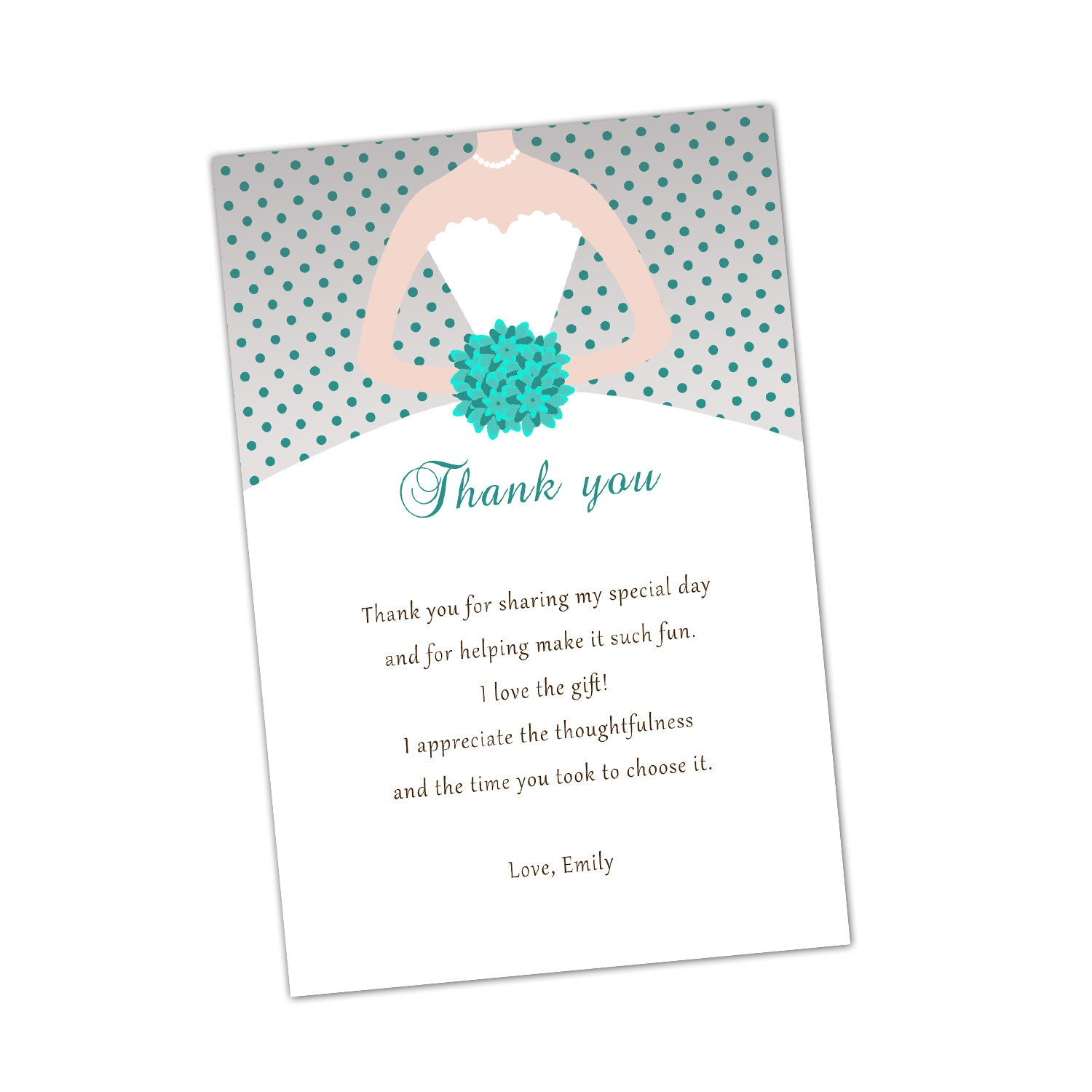 Grey Turquoise Bridal Shower Thank You Cards Bouquet Bride – Wedding Thank You Card Sayings Examples