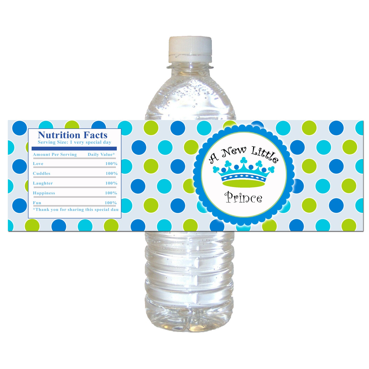 Prince water bottle labels blue green polka dots by pinkthecat for A new little prince baby shower decoration kit