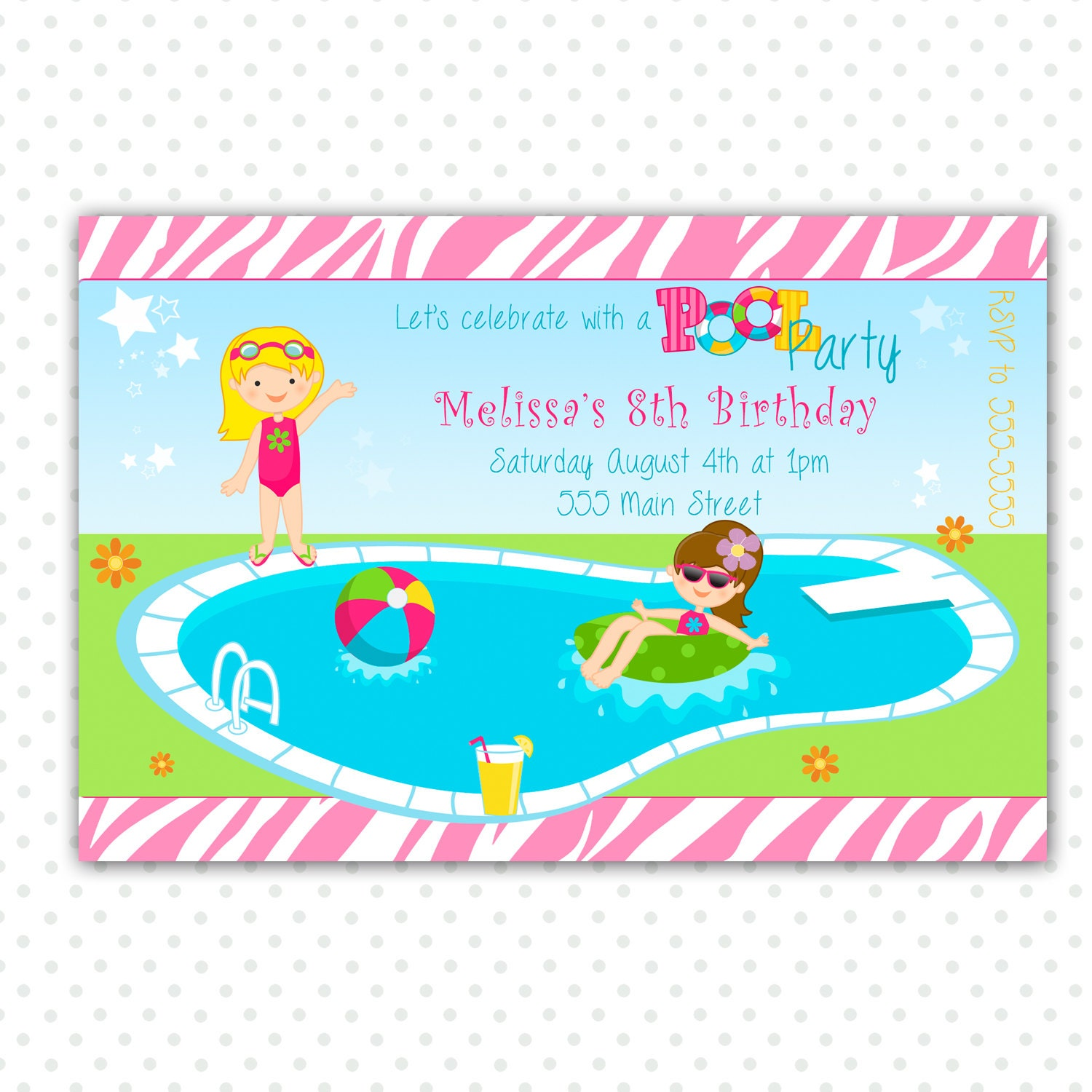 Pool Party Birthday Invitation for Girl Printable – Pool Party Invitations for Girls