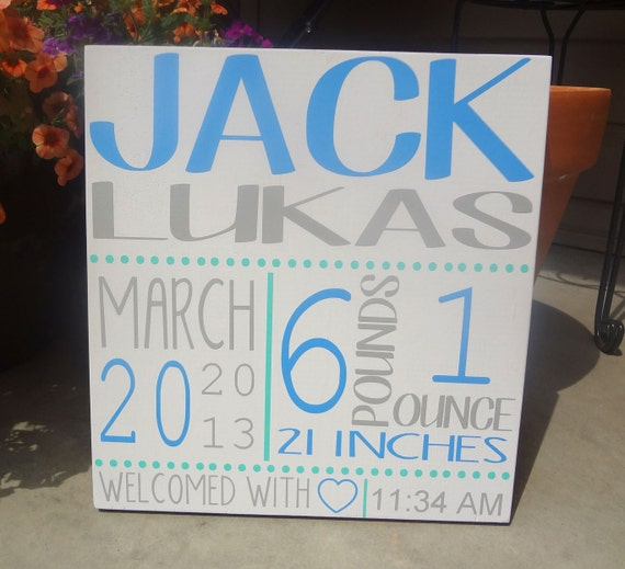 Custom Birth Announcement Board- Subway Art- Personalized Wall Hanging