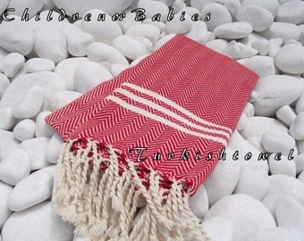 Turkishtowel-NEW-For BABIES or KIDS Turkish Bath Towel or Sarong-Herrigbone shape-Red and Natural Cream,Ivory,Undyed