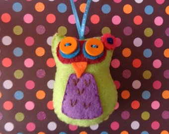 Lime Green Owl Ornament by Pepperland