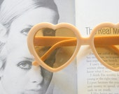MOD GIRL Heart Deadstock Sunglasses..twiggy. retro. colorful shades. urban. hipster. kitsch. shades. summer. sun. party glasses. lemon