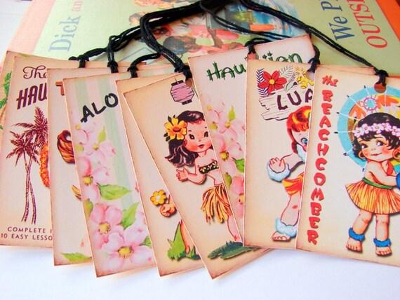 Hawaiian Tag: Paper Ornament Or Gift Tag Set Of 9 Large Hawaiian Hula