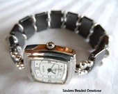 Stretch Hematite and Silver Watch Band