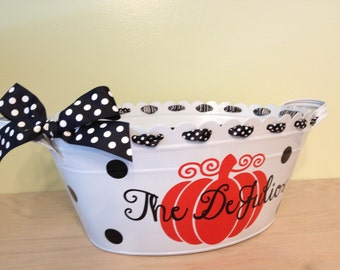 Personalized halloween scalloped oval metal bucket, tub, white or orange, pumpkin & family name for passing out candy