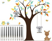 Children Vinyl Wall Decals tree decal with kangaroo, koala bear-nursery kids wall stickers